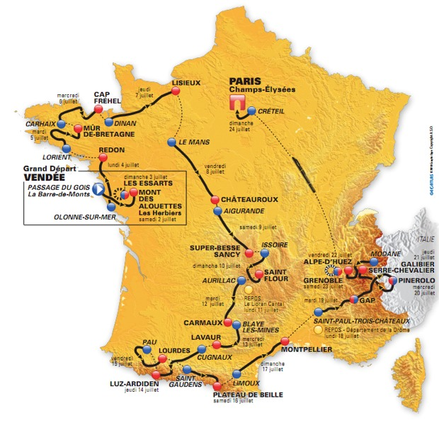 tour de france map 2010. Tour de France Map Image